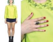 50% OFF SALE 50s 60s Neon Silk Jacket Beaded Evening Jacket Embellished Blazer Chartreuse Beaded Vintage Petites Fancy Cropped Blazer (S/M)