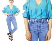 Vintage Cut Out Shoulder Blouse Turquoise Blue India Cotton Top Tribal Print Cut Out Top Aztec Striped Shirt Boho Colorful Summer Top (M/L)