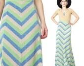 1970s Lurex Maxi Skirt Colorful Chevron Skirt Striped Maxi Skirt Sparkly Knit Party Skirt Mod Disco Hippie Festival Floor Length (M/L)