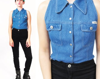 90s Sleeveless Denim Shirt Womens Soft Denim Button Down Shirt Denim Tank Top Pointy Collar Blue Jean Shirt Chest Pockets Fitted Top (XS/S)
