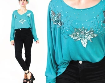 1980s Sequin Blouse Floral Sequin Tshirt Turquoise Long Sleeve Top Sequinned Glam Fancy Party Evening Shirt Jersey Paper Thin Tshirt (M/L)