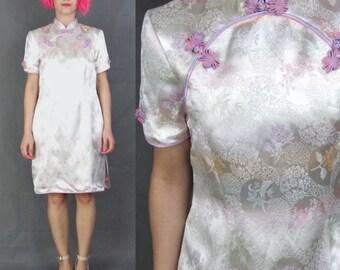 50% OFF SALE Vintage Satin Cheongsam Dress Chinese Wedding Dress Floral Embroidered Cream Pink Asian Qipao Mandarin Collar Short Sleeves (M)