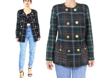 25% OFF SALE 1980s Plaid Blazer Double Breasted Boyfriend Blazer Gold Buttons Green Tartan Jacket Knit Cotton Preppy Womens Blazer (M) E236