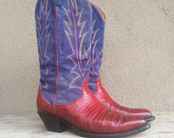 Vintage red lizard blue suede Women size 7 M (fits up to 7.5) Tony Lama cowgirl boots, Western cowboy boot, Fourth of July cowgirl boot