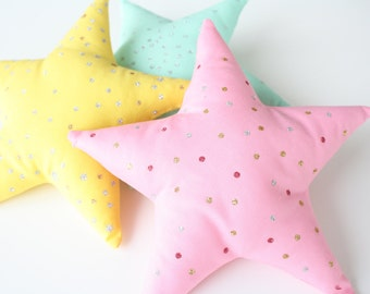 Small Star Pillow with Pocket • Tooth Fairy Pillow • Sparkle Star Pillow • Girls Bedroom Pillow Decoration