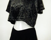 80's/ 90's CRUSHED metallic VELVET Stretchy CROPTOP, body con cropped t-shirt, size medium m