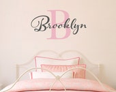 Initial & Name Wall Decal - Girls Name Decal - Initial Wall Sticker - Medium (1)