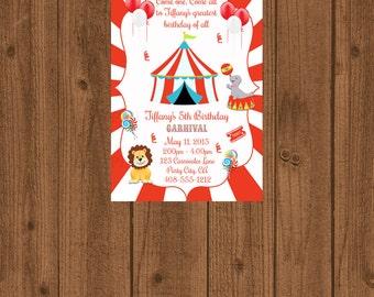 Carnival Birthday Invitation, Red and White Carnival Circus, Printable Invitation