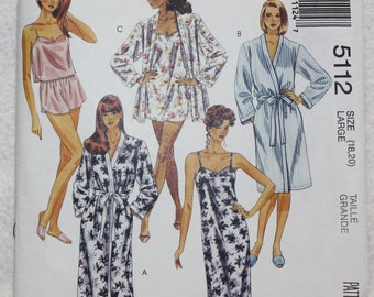 "Sz Lg (18-20)McCalls  Sewing Pattern 5112 Sleepwear - Robe, Nightgown, Cami and Shorts Lingerie Bust 40""-42"""