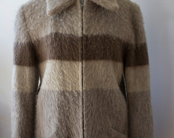 Hilda Ltd. Zip UP Lined Wool Coat from Norway with Pockets/ 1970's Men Small