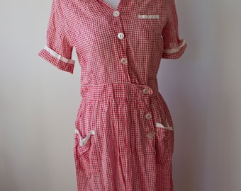 1950's Red and White Gingham Dress/ Picnic/ Brunch/ Party Dress