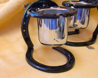 Country Chrome Candle Cradle   Horseshoe Candle Holder