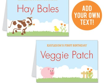 INSTANT DOWNLOAD Barnyard Party Buffet Cards - EDITABLE Printable File