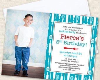 Cooking Party Photo Invitations - Professionally printed *or* DIY printable