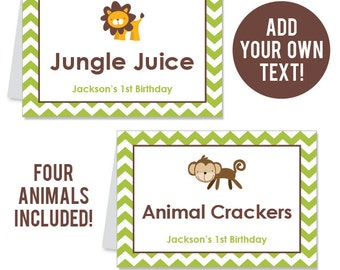 INSTANT DOWNLOAD Safari Party Buffet Cards - EDITABLE Printable File