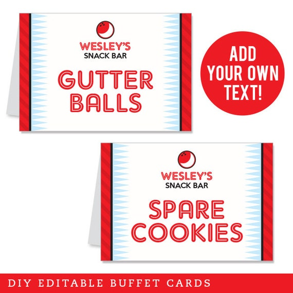 INSTANT DOWNLOAD Bowling Party Buffet Cards - EDITABLE Printable File