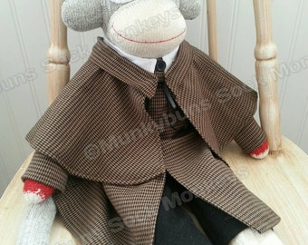 Traditional Sherlock Holmes Sock Monkey Doll - Full Character Detailing