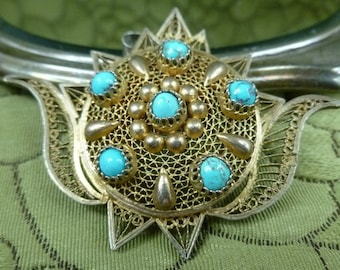 STORE CLOSING SALE Egyptian Turquoise and Silver Brooch Pendant