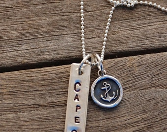 """CAPE COD sterling silver Stamped Bar charm with Small round Anchor Charm ball chain 18"""""""