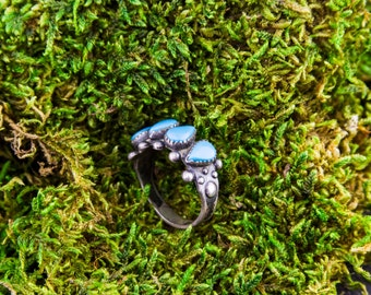 Vintage Boho Turquoise Ring in Sterling Silver - Boho Turquoise Ring - Bohemian Ring - Native Turquoise Ring - Sterling Silver Boho Ring