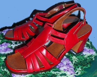 Women's Vintage 1940's Corral Red Sandals Sz 5- 5 & 1/2