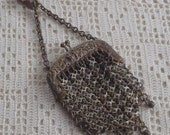 Vintage Mesh Purse with Chatelaine Belt Hook