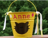 Personalized toy, baby shower, halloween or Easter pail for girls - Cat and polka dots