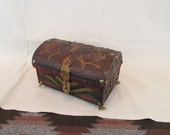 Gorgeous Vintage Unique Exotic Handtooled and Painted Leather & Wood Domed Jewelry Box with Gold Tone Brass Feet ~ Trinket Box ~ Stash Box ~