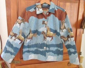 Gorgeous Blues Vintage 1990's Jane Ashley Clothing WILD MUSTANGS Horses Tapestry Jacket with two lower Patch Pockets ~ Size Medium ~