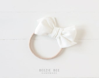 """The Sunday Bow in """"White"""" - Hand Tied Fabric Bow - Babies, Toddlers, Girls - Nylon Headband or Clip"""