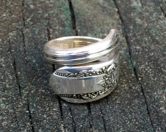 Art Deco Silver Plated Spoon Ring size 8
