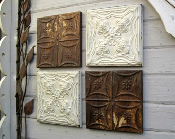 Tin Ceiling Tiles. Set of 4. VINTAGE Architectural salvage. Rust & weathered old paint. Metal wall art. Distressed Rustic farmhouse decor.