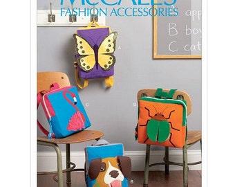 Sew & Make McCall's M6808 SEWING PATTERN - Childrens Animal Big Motif Backpacks