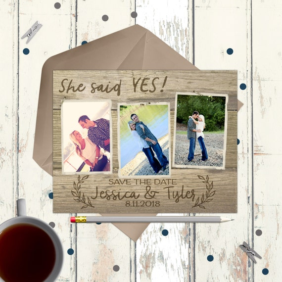 Rustic Save the Date Magnet or Photo Cards - wedding