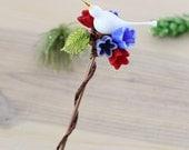 Glass garden art, bird plant stake, yard art, plant decoration, suncatcher flowers - May day bouquet
