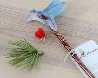 Blue bird plant stake, indoor garden art, glass yard art