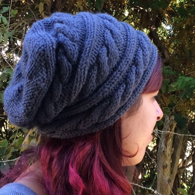 Cabled Slouchy Hat Knitting Pattern Instant Download