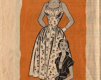 Vintage 1950s Mail Order Sewing Pattern / Marian Martin 9227 / Halter Dress Sundress Bolero Jacket / Size 12 Bust 30