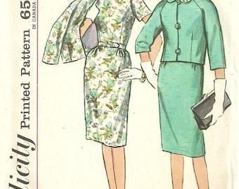 Simplicity 4854 / Vintage 60s Sewing Pattern / Dress Jacket Suit / Size 18 Bust 38