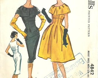 McCalls 4842 / Vintage 50s Sewing Pattern / Empire Dress / Size 16 Bust 36 / Unused