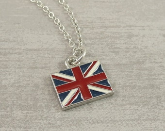 British Flag Necklace, Silver British Flag Charm on a Silver Cable Chain