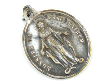 Large Vintage Miraculous Medal - French Congregation of the Children of Mary Catholic Charm - Our Lady of Grace - Q32