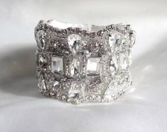 Bridal Wedding Crystal Bracelet Cuff Bangle