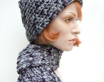 Hat and Scarf Set, Dalmation Colors Hat and Scarf Set, Black, Gray, Gray Blue and White Crocheted Hat and Scarf, Womens Hat and Scarf