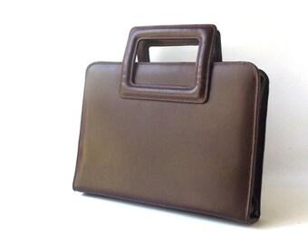vintage 1990's leather attache organizer dark brown business work auburn womens mens fashion rectangular shoulderbag retro purse zip around
