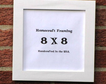 8X8 Picture Frame Hand Painted Antiqued White Wooden.