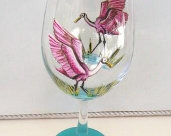 Roseate Spoonbill  Heron Egret Wine Glass Hand Painted Wine Goblet (Custom Order)