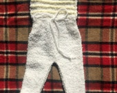 60s/70s White and Yellow Knit Cozy Footies, Size 3 to 6 months