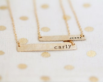 Gold Filled Name Necklace, Custom Gold Bar Necklace, Horizontal Nameplate, Small and Large Versions, Personalized
