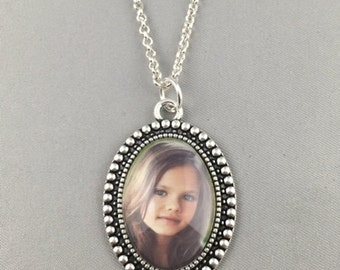 Custom Photo Necklace - Vintage Oval Pendant - Silver or Bronze Finish Available